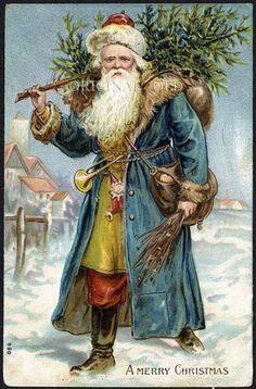 Santa Claus in Blue Robe Christmas Postcard, vintage 1907   #christmas #vintage   Merry Christmas from Johnny and Jomadado.com !