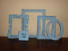 5 Shabby Cottage  Aqua Distressed Picture Frames by mushroommary, $29.00