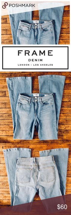 """Frame Denim Le High Flare: Lovella New without tags, 93%cotton/5%polyester/2%lycra, made in USA, Cut#367, Lovella, waist 14.75"""", hips 16.5"""", super soft!  A high, on-trend rise balances the flared legs of these retro-inspired jeans crafted from premium L.A.-made denim. Subtle fading detailing the light-blue wash offers figure-flattering definition. 35 1/2"""" inseam; 21 1/2"""" leg opening; 10"""" front rise; 14"""" back rise (size 29). Zip fly with button closure. Frame Denim Jeans Flare & Wide Leg"""