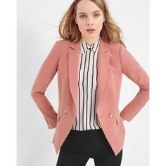 Whbm Double Breasted Pink Career Office Blazer