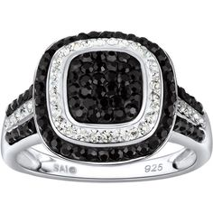 FINE JEWELRY Sterling Silver Black & Clear Crystal Square Ring ($69) ❤ liked on Polyvore featuring jewelry, rings, no color, clear rings, womens jewellery, black and silver rings, clear quartz crystal jewelry and clear jewelry
