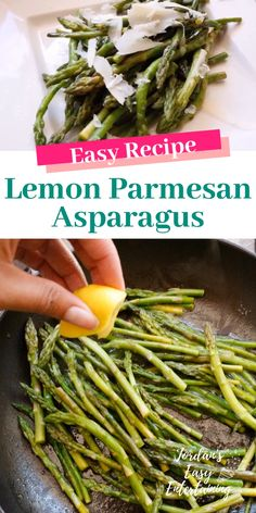 This easy side dish recipe for yummy sauteed lemon Parmesan asparagus is perfect for a weeknight dinner or a fancy dinner party. Sauteed Asparagus Recipe, Easy Asparagus Recipes, Saute Asparagus, Parmesan Asparagus, Lemon Asparagus, Pan Fried Asparagus, Asparagus Side Dish, Veggie Side Dishes, Salads