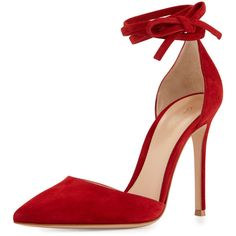 Gianvito Rossi Suede Pointed-Toe Ankle-Wrap Pump ($835) ❤ liked on Polyvore featuring shoes, pumps, red, d'orsay pumps, red ankle strap pumps, ankle strap shoes, ankle strap pumps and red pointy toe pumps