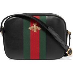 Gucci Linea G 2 canvas-trimmed leather shoulder bag (13.326.450 IDR) ❤ liked on Polyvore featuring bags, handbags, shoulder bags, gucci, black, gucci handbags, black leather handbags, shoulder strap bag, leather purse and shoulder handbags