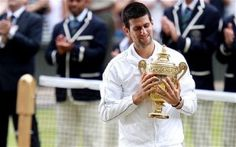 My favorite tennis player! Novak Djokovic after winning his first Wimbledon title.