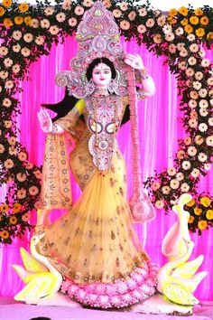 Sarswati devi 941 groom give, veenaavadini groom # … – Wedding Dresses Ideas Saraswati Puja Pandal, Saraswati Murti, Saraswati Goddess, Shiva Shakti, Durga Maa, Mother Kali, Mother Goddess, Gauri Decoration, Tapas