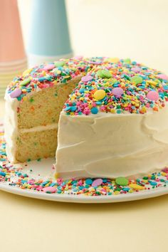 Make Rainbow Chip cake even more colorful with the addition of a rainbow of candy sprinkles. Bake and freeze the cake layers (make sure to wrap tightly with plastic wrap and keep in an airtight container) ahead of time. Use whatever colors the birthday girl or boy likes!