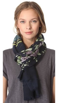 Rag & Bone Uzbeck Flower Scarf              Like this style with a scarf and  short sleeve jumper