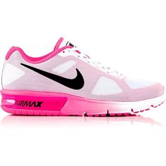 Nike Air Max Sequent Running Shoes ($105) ❤ liked on Polyvore featuring shoes, athletic shoes, pink, nike, structure shoes, leather upper shoes, nike athletic shoes and pink athletic shoes