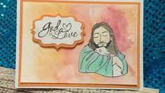 Good Shepherd stamp ( my own custom stamp); Stampin' Up sentiment; Sizzix die; color pencils and watercolors.