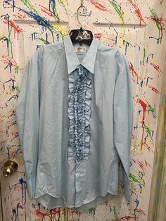 Mens tux ruffled vintage button down long sleeve shirt XL light blue with darker blue accents After Six RagsAGoGo Tux Shirt, Shirt Dress, Mens Tux, Dark Blue, Light Blue, Ruffle Shirt, Blue Accents, Button Downs, Long Sleeve Shirts