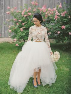 Two piece wedding dresses to turn heads: http://www.stylemepretty.com/collection/2829/