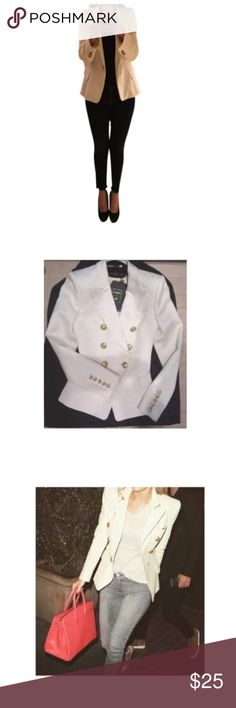 ZARA white blazer Zara white blazer. Similar to the Balmain blazer with epaulets. The platforms that I am wearing are the Dolce Vita also on sale. The two pictures show the Balmain jacket that this jacket was inspired by. Zara Jackets & Coats Blazers
