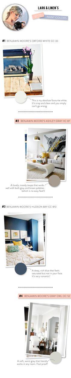 @jacquelyn   lark & linen  Go-To Paint Colors!  Read more - http://www.stylemepretty.com/living/2013/10/14/lark-linens-go-to-paint-colours/