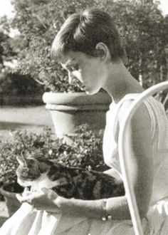 A cat relaxes with Audrey Hepburn in a sunny garden.