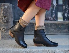 Handmade Women Shoes, Square Heel Short Boots, Ankle Boots for Winter/Autumn, Women Leather Shoes Winter