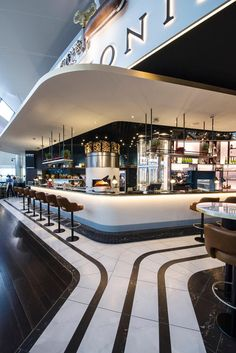 Supply only for Heston Blumenthal's restaurant in Heathrow Terminal 2 called The Perfectionists' Café. This beautifully designed restaurant fuses traditional dinning with modern clean interior design. Food Court Design, Bar Design, Bar Interior, Restaurant Interior Design, Cafe Bar, Cafe Restaurant, Bar Lounge, Coffee Design, Hospitality Design
