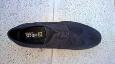 Suede leather wing tip Derby Shoes for Men - Dark Blue - Made in Italy, overview