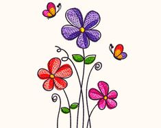 Embroidery Design for Machine Embroidery - Applique - Hippo with Ribbon Teeth - Two Sizes and Machine Embroidery Applique, Free Machine Embroidery Designs, Floral Embroidery, Flower Embroidery Designs, Embroidery Patterns, Flower Designs, Easy Flower Drawings, Design Floral, Japanese Embroidery