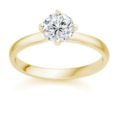 1/4 Carat E/VS1 Round Brilliant Certified Diamond Solitaire Engagement Ring in 18k Yellow Gold