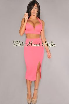Hot Pink Plunging V Neck Two Piece Set