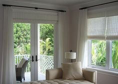 pinch pleats, white linen drapery panels with white woven shade. Exactly what I want for our living room slider. Blinds For French Doors, French Doors Bedroom, French Door Curtains, French Doors Patio, Blinds For Windows, Windows And Doors, Window Blinds, Master Bedroom, French Door Coverings