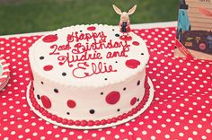 """Cute way of decorating the cake for a """"Olivia""""themed party"""