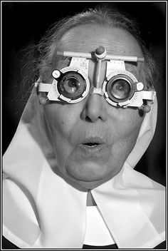 Sister Mary Bartholomew was delighted that her new glasses were anchored on her large forehead wart!