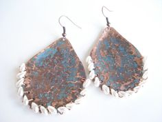 Unique Handmade Copper Patina Earrings-Boho Drop by AnnaRecycle