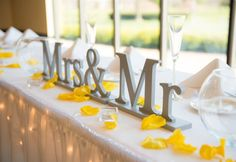Mr & Mrs Signs for the Sweetheart Table Accented with Yellow Rose Petals | Unique Table Signs and Event Decor, Gifts & Accessories at www.ZCreateDesign.com or ZCreateDesign on Etsy and Amazon Handmade