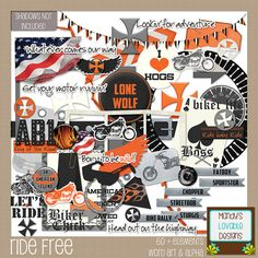 Ride Free Kit - Motorcycle Theme - High Quality Printables - Cardmaking, Crafts, Design, Digital Scrapbooking Supplies  This is a great motorcycle themed kit. Anyone who loves to ride, goes to shows, is part of a motorcycle club or even just owns a H-D can appreciate the theme.  Papers: This kit includes 20 papers in a mix-n-match of orange, gray, black and white solids, grunge and patterns. 12x12 jpg 300 dpi.  Elements: There are over 60 elements, including color & style variations. All ...