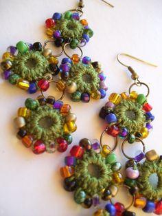 Crocheted beaded circles earrings by BohemianHooksJewelry on Etsy
