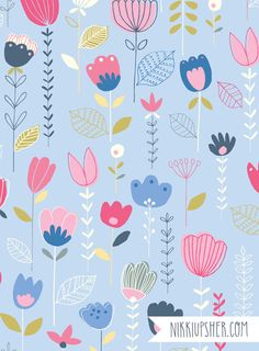 Nikki Upsher is a freelance surface pattern designer and illustrator based in Bath, UK. She has over twenty years experience in the busin. Textile Pattern Design, Surface Pattern Design, Textile Patterns, Textile Prints, Pattern Paper, Print Patterns, Floral Prints, Cool Patterns, Cute Backgrounds