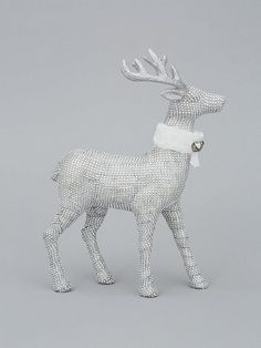 Diamante Stag Christmas Decoration in Silver Recycling Bins, Silver Glitter, Antlers, Christmas Decorations, Delicate, Diamonds, Horns, Silver Sequin, Recycling Containers