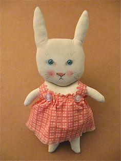 white rabbit art doll  by Sandy Mastroni, via Flickr