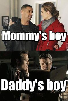 """(tags: Castle, Ryan, Esposito, Richard, Kate, parents, mommy's boy, daddy's boy) """"Mom and Dad are fighting."""""""