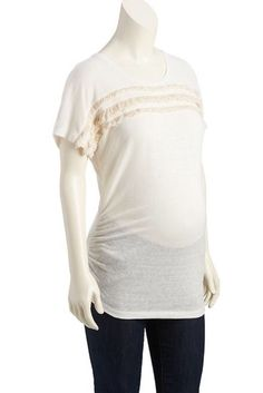 eb80b80d6e2f4b NWT Old Navy Maternity Women s Cream Linen Fringe Cocoon Tee Top size