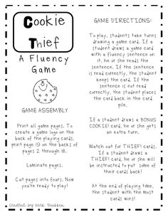 """""""Cookie Thief Fluency Game"""" - What I liked most about this game is that students have to read unfamiliar sentences. I think this is a great skill building game and creates a novel situation to practice fluency. Reading Fluency Games, Reading Strategies, Reading Activities, Reading Skills, Teaching Reading, Reading Comprehension, Guided Reading, Teaching Ideas, Fluency Practice"""