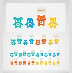 cute character social media icons vector set  Cute Character Social Media Icons Vector Set