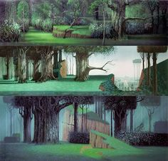 Disney Sleeping Beauty background paintings by Eyvind Earle. I would love to do this: