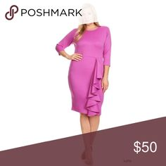PLUS Magenta Side Ruffle Accent Bodycon Midi Dress PLUS Magenta Side Ruffle Accent Bodycon Midi Dress made of poly/spandex blend with a back zipper Dresses Midi