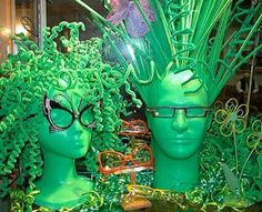 This would make a great St Patrick's window display. This is from an Optical store. Find the mannequin heads you need at MannequinMadness.com