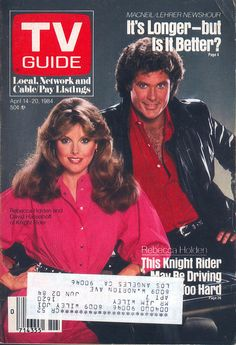 David Hasselhoff and Rebecca Holden (Knight Rider) on the cover of TV Guide - April 14, 1984