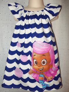Girls Custom Made Bubble Guppies  Dress.... So cute for audrina's 2nd bday party!