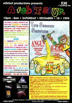 Alfebet Soup 2 – The Second Serving : Saturday, 10 December 1994 10 December, Flyers, Sydney, Rave, Two By Two, Soup, Presents, Animation, Raves