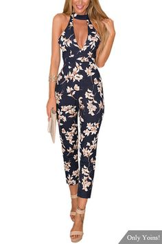 Navy Floral Print Sleeveless Choker Jumpsuit with Open Back - US$27.95 -YOINS