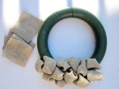 Attaching Burlap Bubbles to Foam Wreath Ring