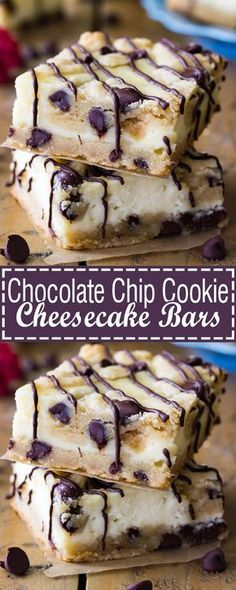 These recipes will have you making up reasons to celebrate, just so you can eat cheesecake. Enjoy these 58 easy cheesecake bar recipes! Chocolate Chip Cookie Cheesecake, Soft Chocolate Chip Cookies, Christmas Chocolate Chip Cookies, Desserts With Chocolate Chips, Chocolate Chip Recipes, Oreo Cheesecake, Chocolate Covered, Köstliche Desserts, Delicious Desserts
