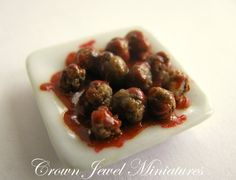 Savory Meatballs In Tomato Sauce 1 Inch Scale Artisan Entree - Crown Jewel Miniatures