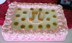 Pink white and gold Christening cake also perfect for birthdays, 1st birthday cash smashes, with ombre rosettes, glitter gold polka dots and a gold monogram fondant disc in the center. These colors are so popular and sweet. Diva's is on a mission to bring back sheet cakes.